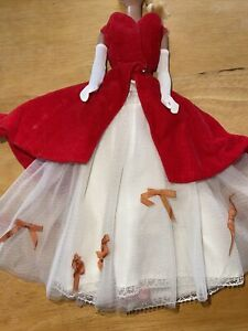 """Vtg Barbie Outfit #1667 """"Benefit Performance"""" Worn Spot On Red Velvet See Photos"""
