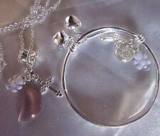 "lilac Moonstone/sterling Silver Baby CHAIN16""/925 BANGLE +TEDDY/CROSS/Boxed/SALE"