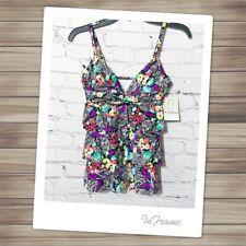 NWT 24th & Ocean Ruffle Floral Tankini Swim Top S