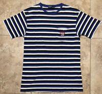 Rare Vtg 90s Polo Ralph Lauren Striped Pocket Tee W/ Usa Mini Flag Mens Size M