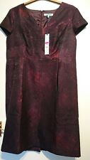 House of fraser Dickins and jones plum jacquard dress size 18 Bnwt