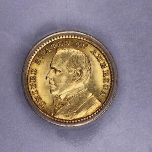 1903-P 1903 McKinley Dollar ICG-MS62 Cool Mint error Strike Thru! Very Lustrous!