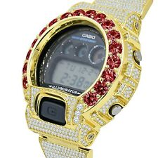 Custom Authentic Casio G-Shock DW 6900 Ruby Red Solitaire Yellow Gold Tone Watch