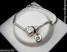 Beautiful MAMA MOTHER & CHILD BABY Love Heart European Charm Bracelet 20cm