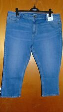 "M&S Cotton Rich MidRise Super Skinny Crop Jeans w/Stretch 20 L21"" Brt IndigoBNWT"