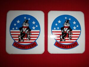 2 US Navy Strike Fighter Squadron VFA-14 TOPHATTERS Decals Stickers *Never Used*