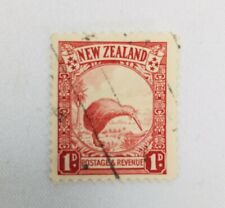 New Zealand 1D Stamp Scarlet Cancelled Used Bird