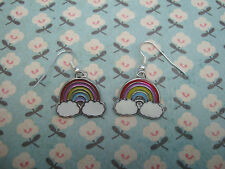 FUNKY RAINBOW CLOUD EARRINGS PINK RED BLUE YELLOW KITSCH CUTE RETRO DOROTHY OZ