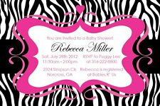 Zebra Print GIRL Elegant Custom Birthday Baby shower Invitation-Print your own