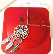 Women Vintage Sweater Necklace Dream Catcher Charm Silver  Bead Pendant  BCCX27
