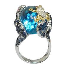 De Buman 18K White Gold 36.84ctw Genuine Swiss Blue Topaz & Diamond Ring, Size 7