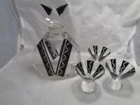 1930'S ART DECO GLASS KARL PALDA DECANTER AND 3 GLASSES