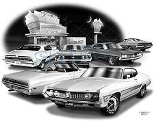 "FORD TORINO 70,71 MUSCLE CAR AUTO ART PRINT #2501 ""FREE USA SHIPPING"""