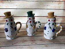 QVC Temptations Snowman Mug Set-3 Mugs w/Lids Holidays Xmas Hot Cocoa Tea Coffee