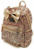 Disney Parks Loungefly Minnie Mouse Rose Gold Sequined Mini Backpack
