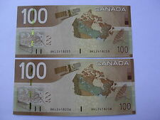 CANADA  2 NOTES  $ 100  DOLLARS  2004  UNC  CONSECUTIVE NUMBERS