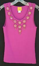 MAGENTA EMBELLISHED TANK TOP BY RUBY RD SZ. PL