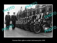 OLD POSTCARD SIZE AUSTRALIAN PHOTO OF VICTORIAN POLICE ARIEL MOTORCYCLES c1950