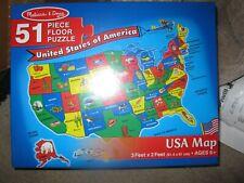 Melissa & Doug Usa Map Floor Puzzle 51 pcs New Sealed