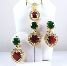 Stunning! Gold Tone Emerald, Ruby Heart CZ with Crystals, Necklace & Earring Set
