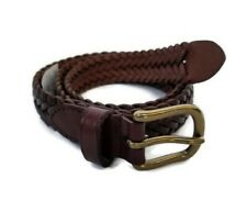 Polo Ralph Lauren Brown Braided Leather Belt Brass Buckle Size 28