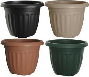 Plastic Round Planter 30cm & 40cm Plant Pots Green Black Taupe Terracotta Pots