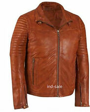 Custom Tailor Made Distressed Thick Leather Jacket Biker Designer Oil Pull Tan