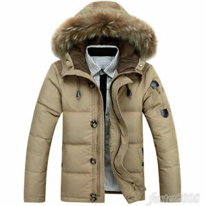 Mens Duck Down Real Fur Collar Hooded Coat Thick winter Warm Park Outwear Jacket