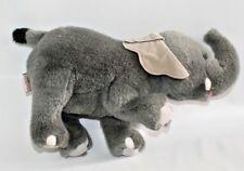"Gund Plush Elephant Grey 12"" Long Stuffed Animal Raised Foot 1991"