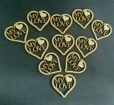 """""""MY LOVE"""" Love Hearts Hanging MDF Wooden Wedding valentines Crafts Decor Couples"""