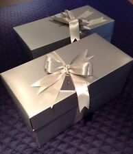 """Lot 2 Neiman Marcus Silver Gift Tag """"Oh What Fun""""Large Boxes Gifting Storage New"""