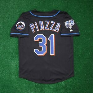 Mike Piazza New York Mets 2000 World Series Alt Black Men's (M-2XL) Jersey