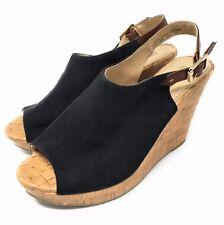 "American Eagle Women Shoes 4"" Platform Sling Back Cloth Uppers Faux Cork Sz 8.5"