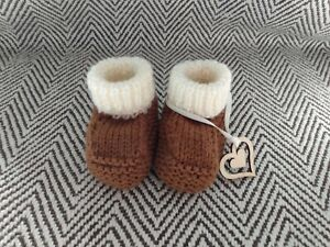 Knitted New Baby Booties/Boots, Ready Gift Wrapped 0-3 Months Cute Uggish Style