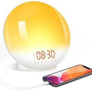 Wake Up Light Lamp LED Sunrise Alarm Clock 7 Colors Sunrise Simulation  FM Radio