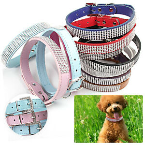 PU Leather Rhinestone Diamante Dog Collar Soft Bling Cat Puppy Small Pet UK
