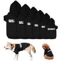 Soft SECURITY Dog Clothes Coat Pet Puppy Coats Hoodie  Large Dog Jackets Black