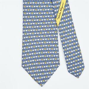SALVATORE FERRAGAMO TIE Camel on Blue Classic Silk Necktie
