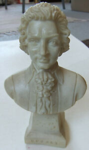 RARE, VINTAGE HAND MADE SMALL ITALIAN ALABASTER / MARBLE BUST - MOZART