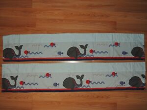"""BEDTIME ORIGINALS 2 VALANCES WHALES FISH BLUE RED GRAY LAMBS & IVY 10.5x54"""""""