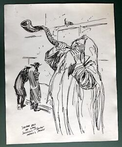 Original Pre 1960's WARREN KING Drawing Shofar Call to Prayer Jerusalem Israel