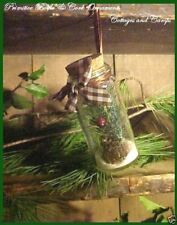 PRIMITIVE Xmas Ornament Glass Jar Bottle Brown Homespun Green Foliage Pinecones
