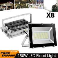 8X 150W LED Flood Light Cool White Waterproof Spotlight Garden Outdoor Lighting