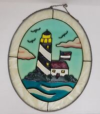 Vintage Stained Glass Wall Window Panel Hand Painted Lighthouse Nautical 11