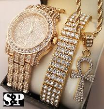 Men Hip Hop Iced Out Lab Diamond Watch & Bracelet & Ankh Cross Necklace Gift Set