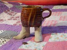"""Adorably Cute"" - ""Five Bridges"" - Ceramic Coffee Mug w/ Legs_Boots - Vtg. - HTF"