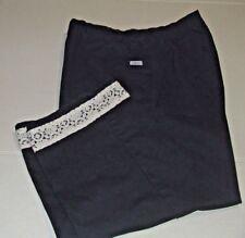 Chic Capri Pants With Lace Trim-14-Navy/White-B3-46