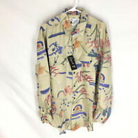 GOOUCH Mens Large Long Sleeve Shirt Silk Button Up 90's Abstract Art VTG NEW NWT