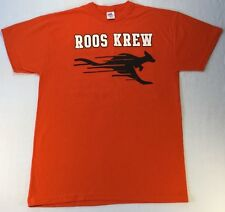T-Shirt Orange Roos Krew House Logo In Black/White Front & Back Sz Small