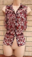 RIVER ISLAND RED BURGUNDY PAISLEY BUTTONED T SHIRT TASSEL FRINGED BLOUSE TOP 10